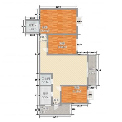 中力广场3室1厅2卫1厨157.00㎡户型图