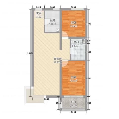 凤凰公社2室1厅1卫1厨59.07㎡户型图