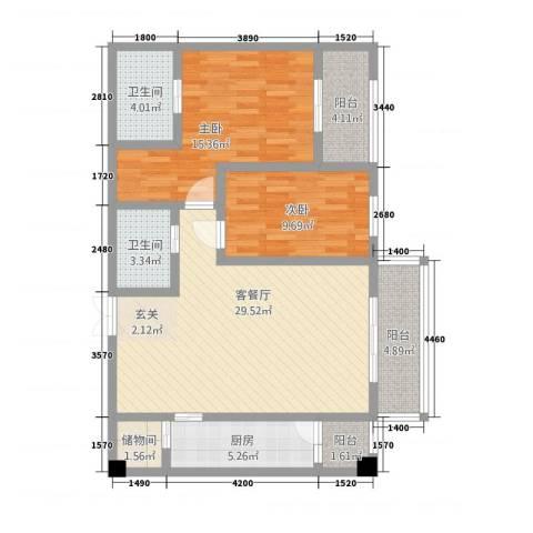 中力广场2室1厅2卫1厨79.37㎡户型图