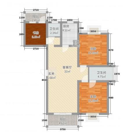 盛世华庭3室1厅2卫1厨119.00㎡户型图