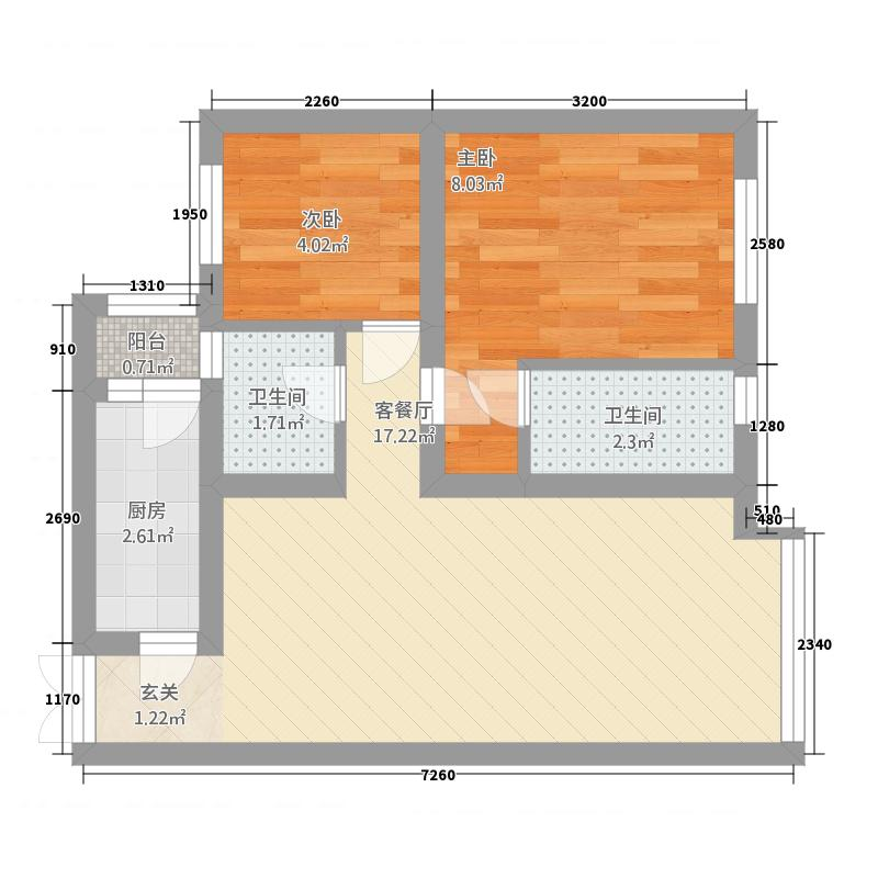 博泰江滨威尼斯55.00㎡户型2室