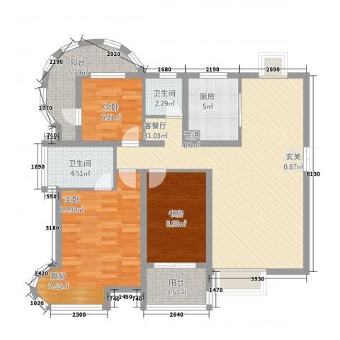 孔目江1号3室1厅2卫1厨122.00㎡户型图