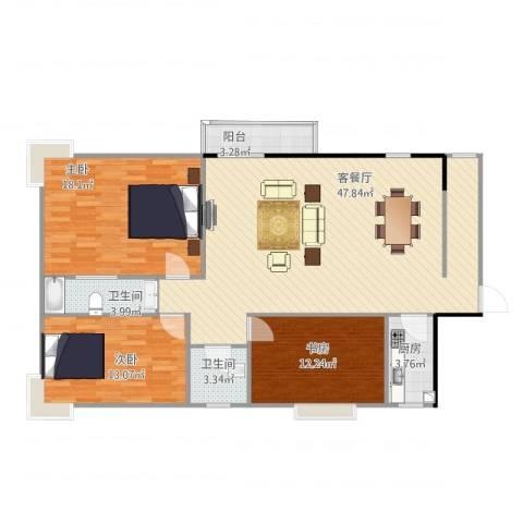 健龙尚谷杰座二期3室1厅2卫1厨118.00㎡户型图