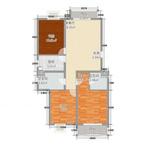凤凰公社3室1厅2卫1厨136.00㎡户型图