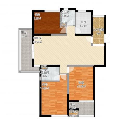 鼎泰花园3室1厅2卫1厨147.00㎡户型图