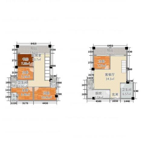 古越扬帆・城市广场5室1厅3卫1厨133.92㎡户型图