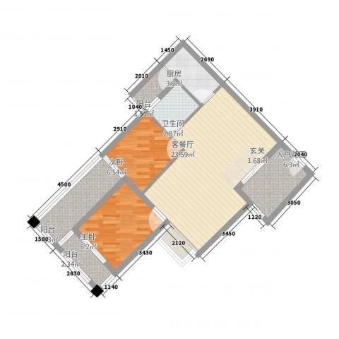 穗东大厦2室1厅1卫1厨86.00㎡户型图