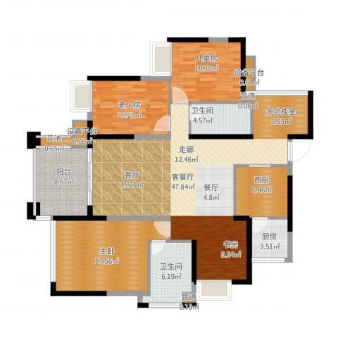 建曙高尔夫1号3室1厅2卫1厨166.00㎡户型图