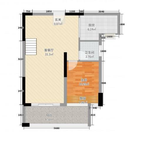 嘉豪园二期1室1厅1卫1厨118.00㎡户型图