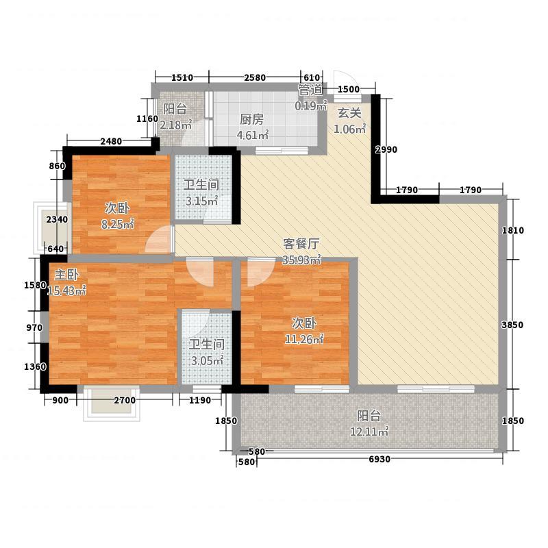 天润上锦A座A6户型3室2厅2卫1厨