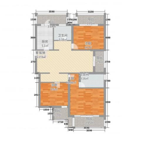 铭城花园3室1厅2卫1厨122.00㎡户型图