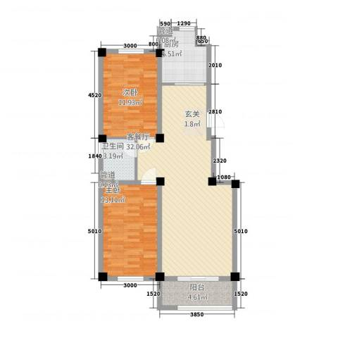 都市华庭2室1厅1卫1厨70.62㎡户型图