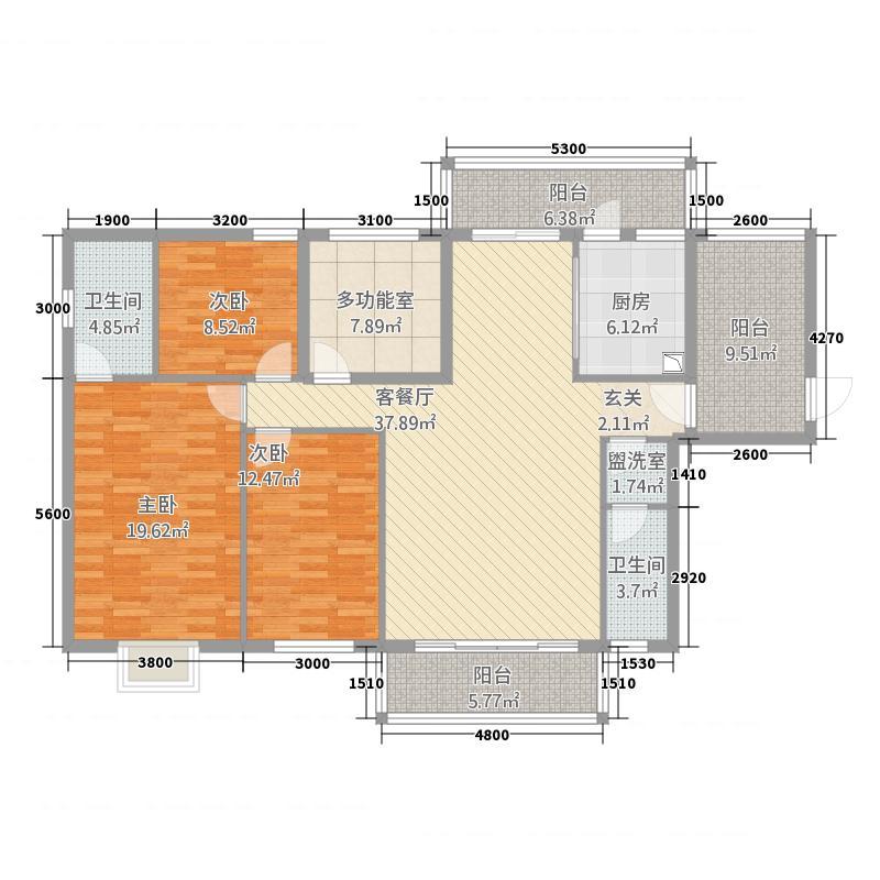 奥丰国际52143.52㎡H户型5室2厅2卫1厨