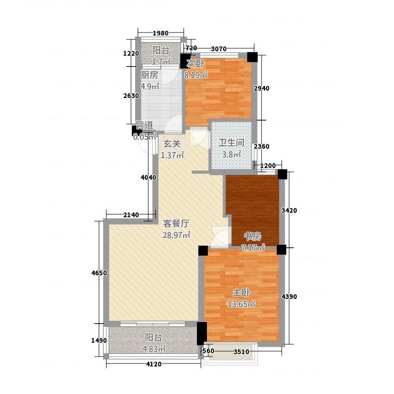 宝盛广场123215.46㎡12-b户型3室2厅1卫1厨