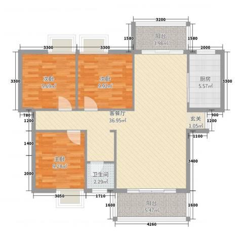 五岭・星叶居3室1厅1卫1厨83.12㎡户型图