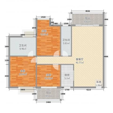 五岭・星叶居3室1厅2卫1厨126.00㎡户型图
