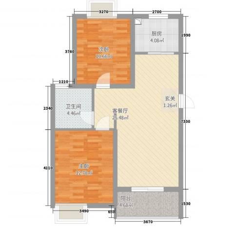 逸景湾2室1厅1卫1厨89.00㎡户型图