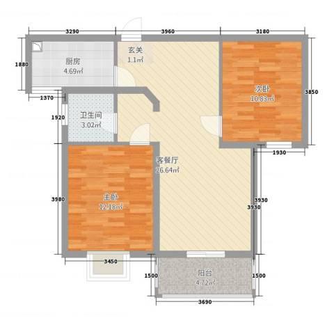 逸景湾2室1厅1卫1厨90.00㎡户型图