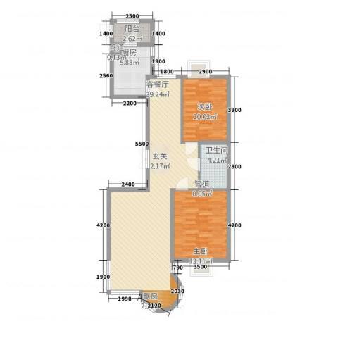 山水太阳城2室1厅1卫1厨107.00㎡户型图