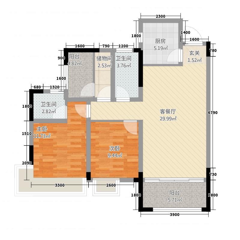 时代・中央城128.20㎡1号楼2单元5号3室户型3室2厅2卫1厨