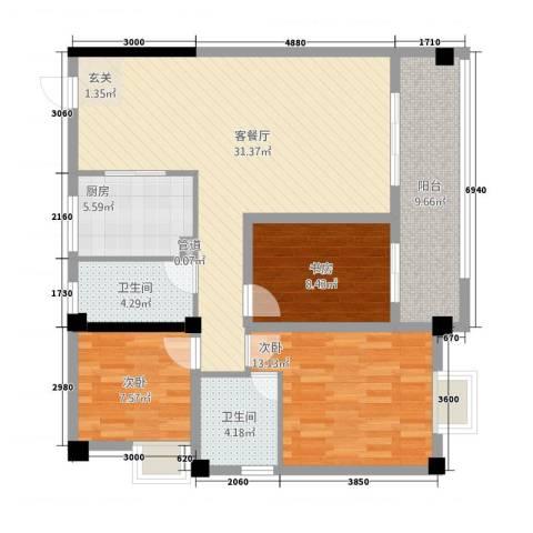 未来城3室1厅2卫1厨84.30㎡户型图