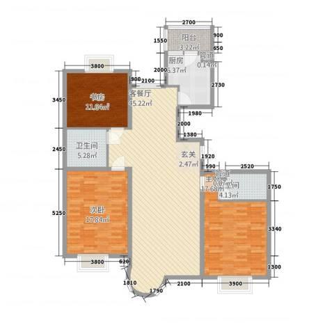 山水太阳城3室1厅2卫1厨157.00㎡户型图