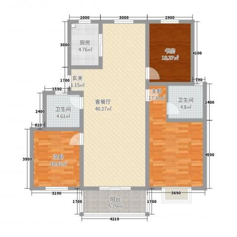 东方明珠花园3室1厅2卫1厨141.00㎡户型图