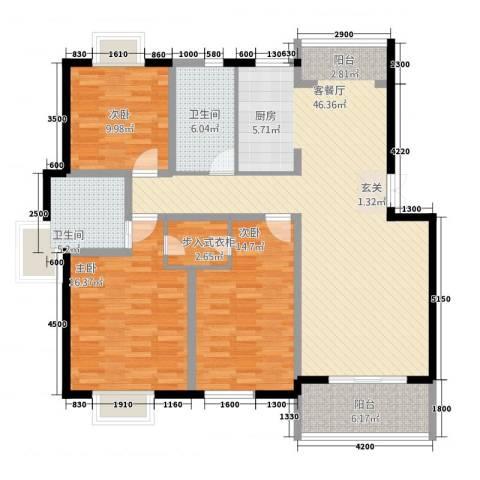 万丽花园3室1厅2卫0厨125.00㎡户型图