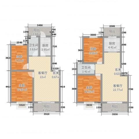 天都华庭4室2厅2卫2厨117.50㎡户型图