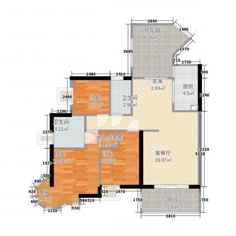 桃源居3室1厅2卫1厨115.00㎡户型图