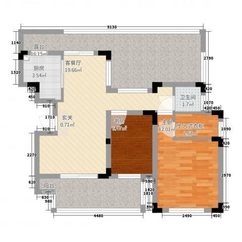 佳兆业悦湖2室1厅1卫1厨102.00㎡户型图