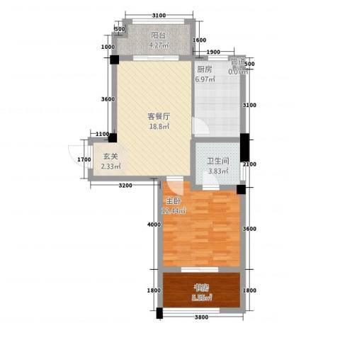 黄山天玺2室1厅1卫1厨51.94㎡户型图