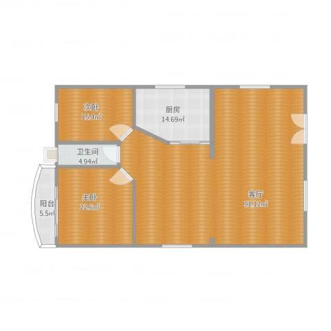 东晓苑2室1厅1卫1厨208.00㎡户型图