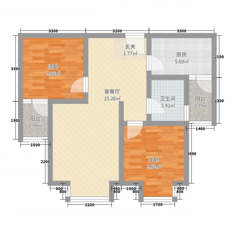 渝都・国际明珠1175.20㎡1-1-4-户型2室2厅1卫1厨