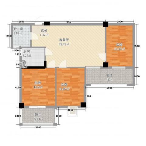 富安・森活印象3室1厅1卫1厨121.00㎡户型图