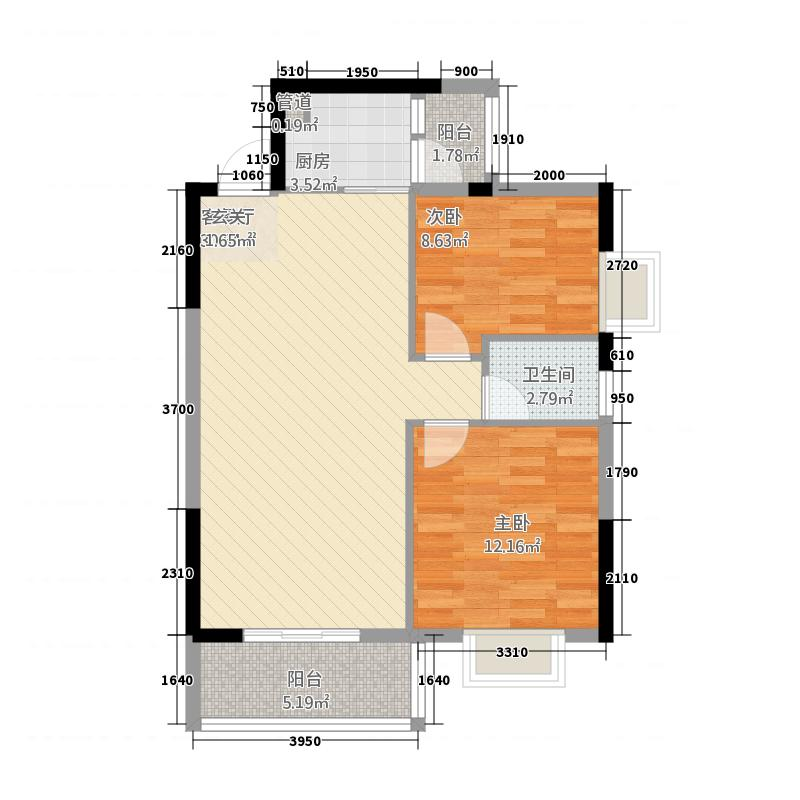 浦金国际广场82.18㎡E户型2室2厅1卫