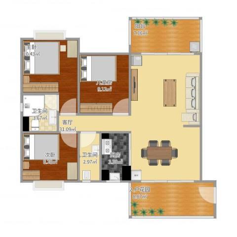 名雅苑3室1厅2卫1厨117.00㎡户型图