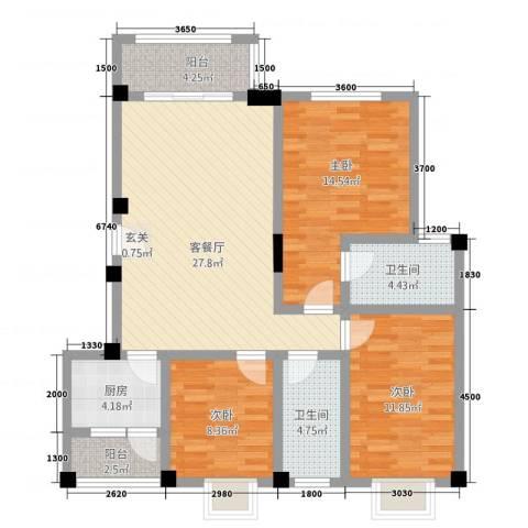 七彩城顺兴苑3室1厅2卫1厨318.00㎡户型图