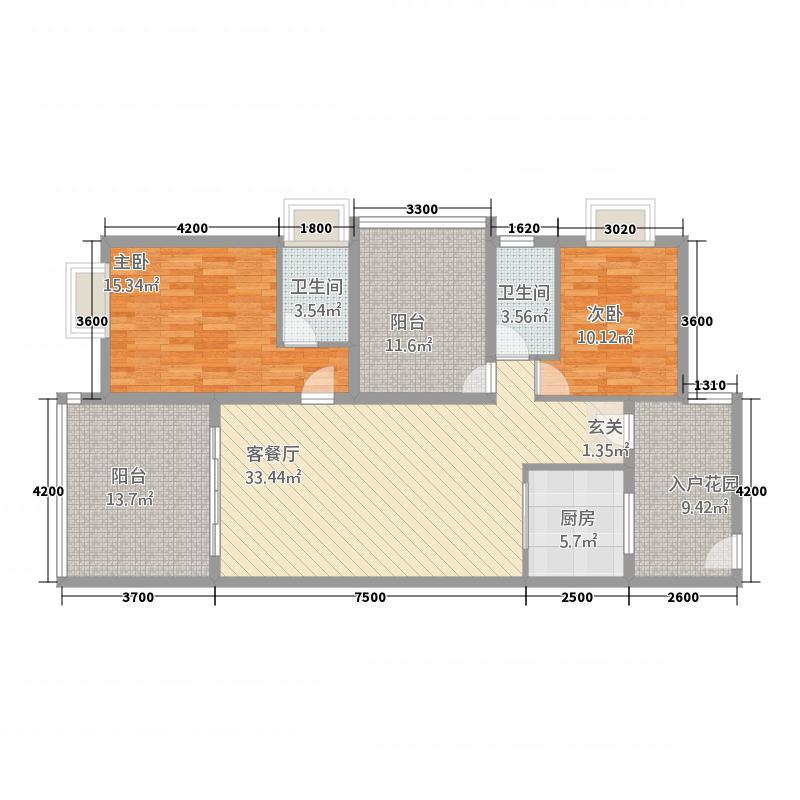 盈翠皇庭146.00㎡H栋146户型2厅2卫