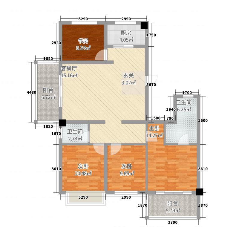 锦城・锦绣花园113.32㎡A1户型4室3厅3卫1厨
