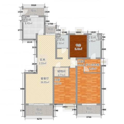 金枫苑阳光水岸3室1厅2卫1厨114.67㎡户型图