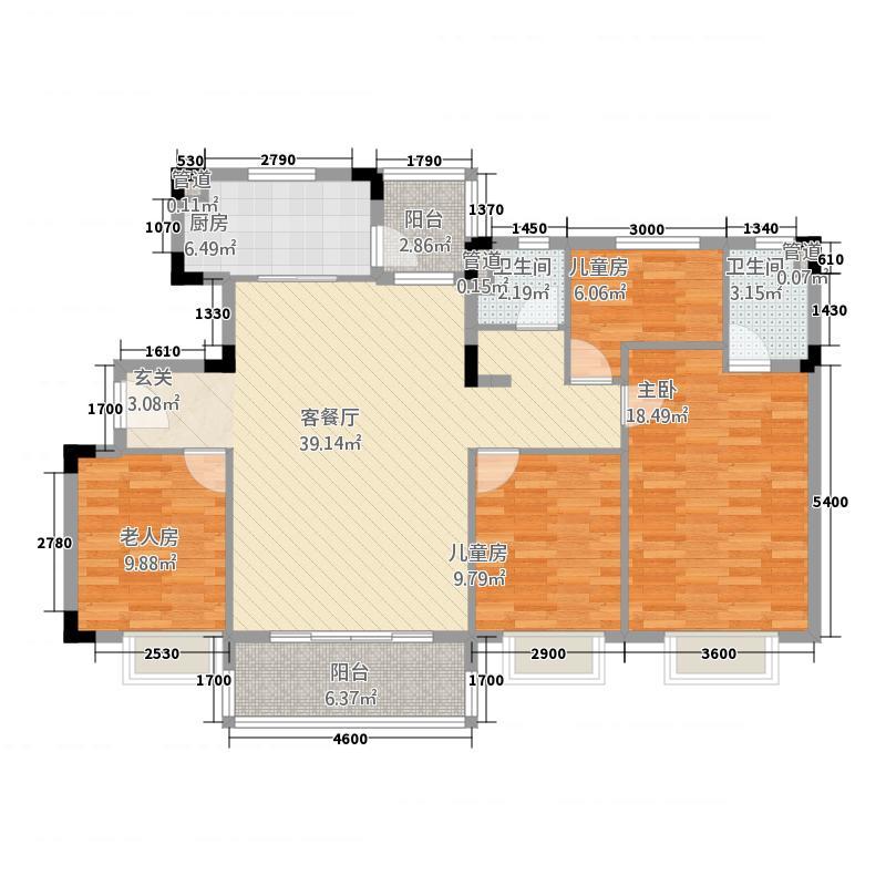 韶关碧桂园142.00㎡彩虹-YJ140T-2型户型4室2厅2卫1厨