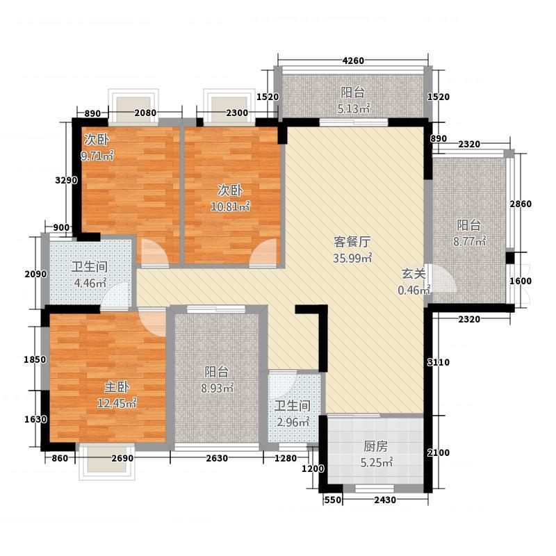 浦金国际广场131.70㎡户型3室2厅2卫