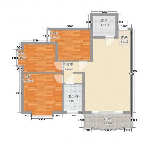 三和家园3室1厅1卫1厨72.39㎡户型图