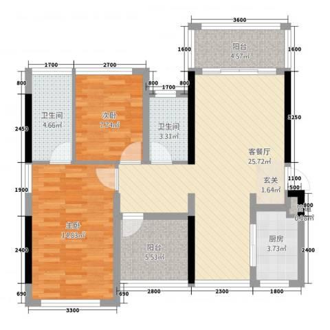 深基天海城市花园2室1厅2卫1厨70.29㎡户型图