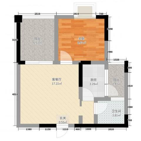 七彩城顺兴苑1室1厅1卫1厨151.00㎡户型图