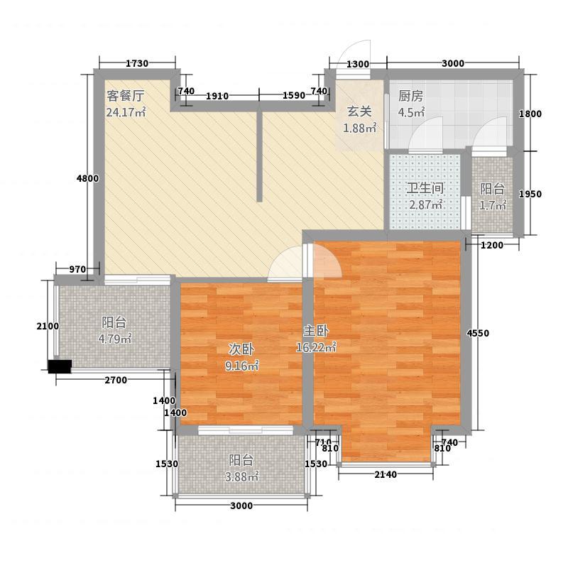 信达丽城二期86.20㎡H户型2室2厅1卫1厨