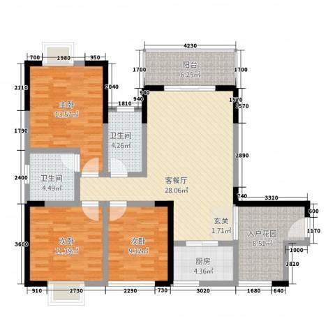 七彩城顺兴苑3室1厅2卫1厨1115.00㎡户型图