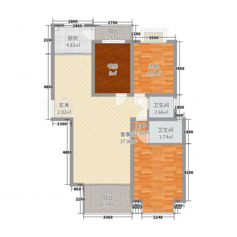 信达丽城二期3室1厅2卫1厨124.00㎡户型图