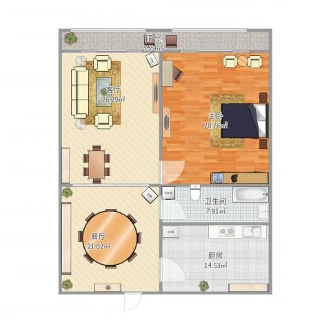 择仁里1室2厅1卫1厨112.88㎡户型图